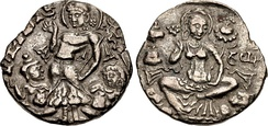Coinage of Pravarasena, supposed founder of Srinagar. Circa 6th-early 7th century CE