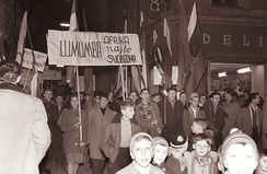 Pro-Lumumba demonstrators in Maribor, Yugoslavia in February 1961