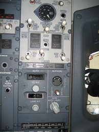 The pressurization controls on a Boeing 737-800