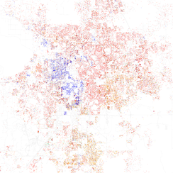 Map of racial distribution in Orlando, 2010 U.S. Census. Each dot is 25 people: White, Black, Asian, Hispanic or Other (yellow)