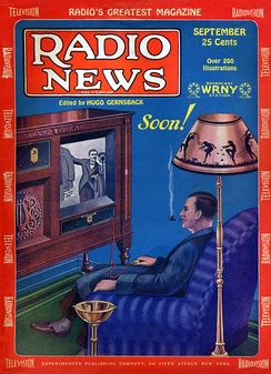 Television was still in its experimental phase in 1928, but the medium's potential to sell goods was already predicted by this magazine cover from that year.