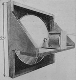 Prototype moving-coil cone loudspeaker by Kellogg and Rice in 1925, with electromagnet pulled back, showing voice coil attached to cone