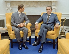 The Prince of Wales met US President Richard Nixon in the Oval Office on an official visit to the United States in July 1970.