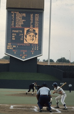 A game at Royals Stadium on Sunday, September 19, 1976. The pitcher is Chris Knapp and the batter is Tom Poquette. The Royals would beat the White Sox 6 to 5.