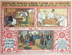 An early Soviet-era poster discouraging unsafe abortion practices