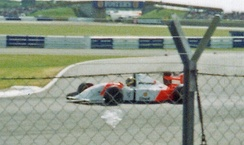 Ayrton Senna was classified fifth after running out of fuel on the last lap.