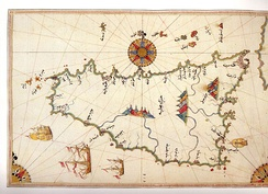 Historic map of Sicily by Piri Reis