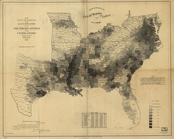 Percentage of slaves in each county of the slave states in 1860
