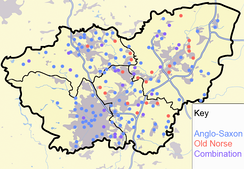 Toponymy within the Southern Kingdom of Jorvik, showing the lasting legacy of Danish settlement