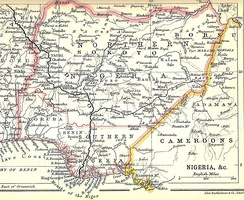 1914 map of Southern and Northern Nigeria by John Bartholomew & Co. of Edinburgh