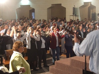 Praise and Worship during a Catholic Charismatic Renewal Healing Service.