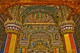 Interior of Durbar Hall of the Thanjavur Maratha palace of the Thanjavur Maratha kingdom.