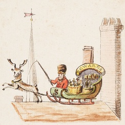 Illustration to verse 1 of Old Santeclaus with Much Delight