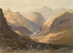 A colonial era lithograph of the Khyber Pass, made in 1848 by James Rattray.