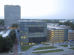 View on the Utrecht Science Park of Utrecht University. The building in the centre is the library.