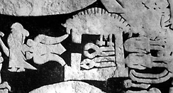 Wayland's smithy in the centre, Níðuð's daughter Böðvildr to the left, and Níðuð's dead sons hidden to the right of the smithy. Between the girl and the smithy, Wayland can be seen in an eagle fetch flying away. From the Ardre image stone VIII on Gotland