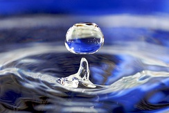 "Impact from a water drop causes an upward ""rebound"" jet surrounded by circular capillary waves."