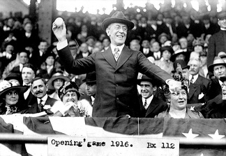 President Woodrow Wilson throws out the ceremonial first pitch on Opening Day in 1916