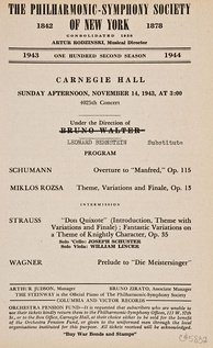 Carnegie Hall playbill, November 14, 1943Radio announcement: