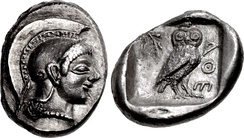 "Coinage of Athens at the time of Cleisthenes. Effigy of Athena, with owl and ΑΘΕ, initials of ""Athens"". Circa 510-500/490 BC."