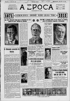 Brazilian journal A Época highlighting the end of the war with the signing of the Armistice of Compiègne in 12 November 1918.