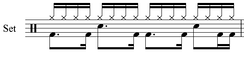 A typical rap drum beat, written in drum notation.