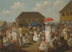 A linen market in Dominica in the 1770s