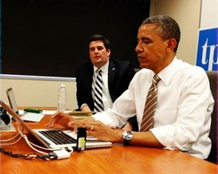 "Obama ""using Twitter"" on May 24, 2012 in response to hashtagged questions"