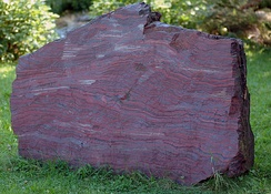 2.1-billion-year-old rock showing banded iron formation.