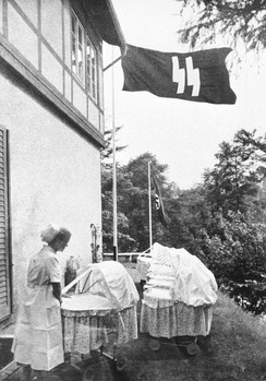 "A Lebensborn birth house in Nazi Germany. Created with the intention of raising the birth rate of ""Aryan"" children from the extramarital relations of ""racially pure and healthy"" parents."