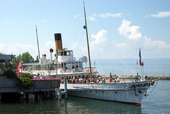 CGN paddle steamer Montreux leaving Evian-les-Bains in July 2002