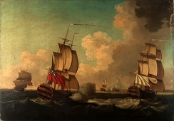 In June 1755, the British captured French naval ships sent to provide war materials to the Acadian and Mi'kmaw militias in Nova Scotia.