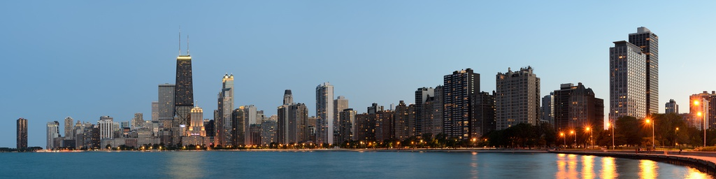Chicago skyline at dusk, from North Avenue Beach looking south