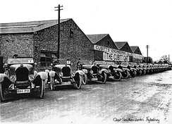 Twenty Cubitt 16/20s in c.1922 publicity image at the Cubitt Car Factory, Great Southern Works, Bicester Road, Aylesbury.