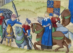 A pivotal event during the Peasants' Revolt, 1381: their leader Wat Tyler is stabbed by William Walworth, Lord Mayor