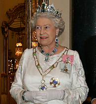 Queen Elizabeth II wearing the Aquamarine Tiara with the Brazil necklace, earrings and bracelet