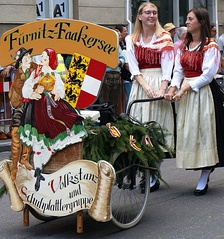 Traditional costume of the Volks- and Schuhplattlergruppe from Faakersee in Carinthia, Austria.