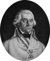 Black and white oval print of a man with round eyes who wears a white military uniform.