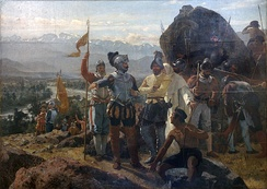 Pedro Lira's 1889 painting of the founding of Santiago by Pedro de Valdivia at Huelén Hill.