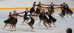 Team Golden Blades perform a circle rotating element during their short program at the qualifiers for the 2010 Finnish Synchronized Skating Championships