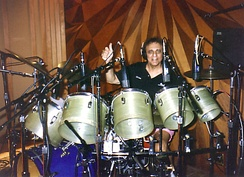 "Session musician Hal Blaine (pictured 2008) is widely regarded as one of the most prolific drummers in rock and roll history, having ""certainly played on more hit records than any drummer in the rock era"".[1]"