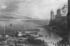 Haridwar Kumbh Mela by the English painter J. M. W. Turner. Steel engraving, c. 1850s.