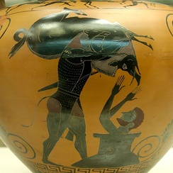 Herakles brings Eurystheus the Erymanthian boar, as depicted on a black-figure amphora (c. 550 BC) from Vulci.
