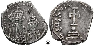 A silver hexagramma showing Constans II with his son. Constans II supported Monothelitism, and had Maximus exiled for his refusal to agree to Monothelite teachings.