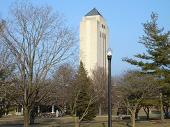 The tower of Holmes Student Center