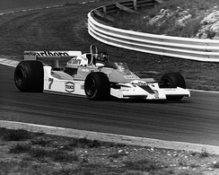 James Hunt driving a McLaren M26 in the 1978 British Grand Prix at Brands Hatch.
