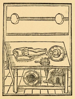 "An illustration from Reginald Scot's The Discoverie of Witchcraft (1584), one of the earliest books on magic tricks, explaining how the ""Decollation of John Baptist"" decapitation illusion may be performed"