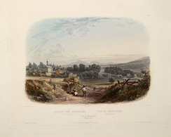 "View of Bethlehem (circa 1832): aquatint by Karl Bodmer from the book ""Maximilian, Prince of Wied's Travels in the Interior of North America, during the years 1832–1834"""