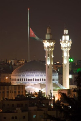 King Abdullah I Mosque at night in capital Amman. The royal family of Jordan, the Hashemites, adheres to Sunni branch of Islam.