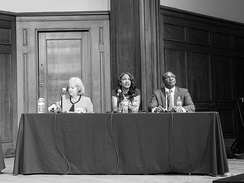 Lyda Krewson (left), Tishaura Jones (center), and Lewis E. Reed (right) at a mayoral forum. Krewson, Jones, and Reed respectively won the most votes.